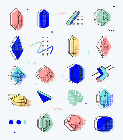 Set of space objects crystals with geometric shapes. Memphis style for hipsters. The elements for cover, fashion, t-shirts, gift cards, 80. Illustration