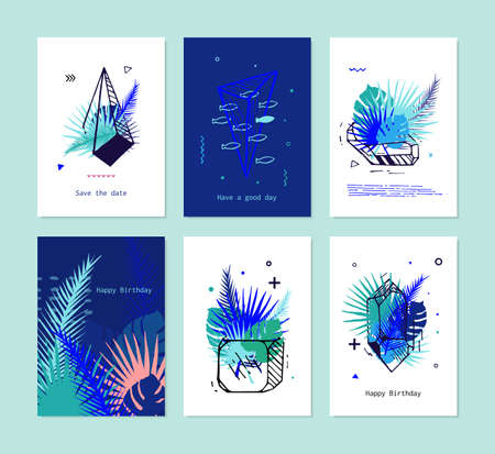 ?ards Set of Tropical elements with crystals. Vector card with exotic flowers and palm leaves, tropical print version set. It motivates text.  イラスト・ベクター素材