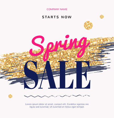 onlineshop: Sale Fashion modern web banner with Gold Brush. Super spring sale, promotion, discount. Special offer for online-shop cosmetics, fashion and beauty salon, shop.