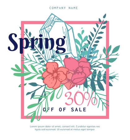 Luminoso bandiera Spring Sale fatto di diversi elementi floreali in stile boho. Molto facile, dolce poster per Negozio cosmetici, bellezza, spa, moda abbigliamento.