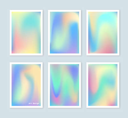 Bright holographic backgrounds set for a different design. You can use a gift card, cover, book, printing, fashion. Modern style trends 80. surreal hipster images. Фото со стока - 55511492