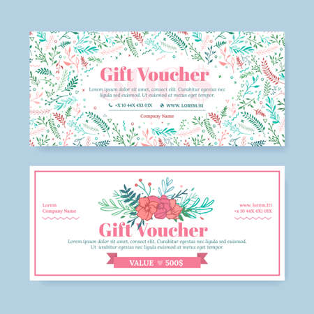 Certificat-cadeau avec des fleurs délicates peintes dans le style boho. Affaires florale modèle de carte. Le concept de boutique, bijoux, boutique de fleurs, salon de beauté, spa, mode, flyer, conception de bannière.