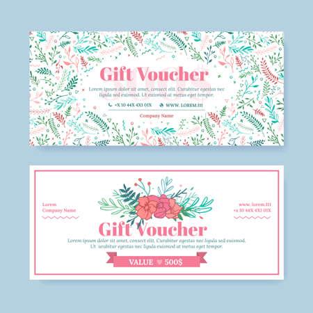 Certificato di regalo con fiori dipinti delicati in stile boho. Affari modello di scheda floreale. Il concetto di boutique, gioielli, negozio di fiori, salone di bellezza, spa, moda, flyer, banner design.