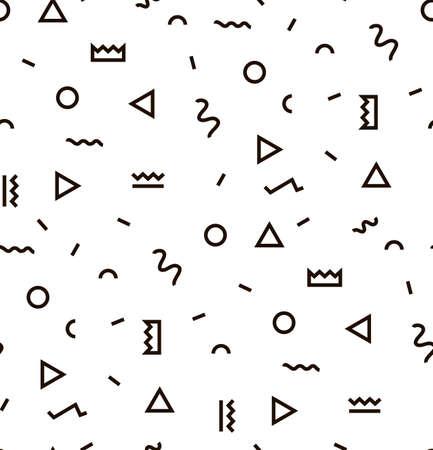Geometryczny wzór Vector z czerni i bieli. Tworzą trójkąt, linia, okrąg. Hipster Fashion Style Memphis.