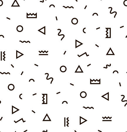 Geometric Vector pattern with black and white. Form a triangle, a line, a circle. Hipster fashion Memphis style. Illustration