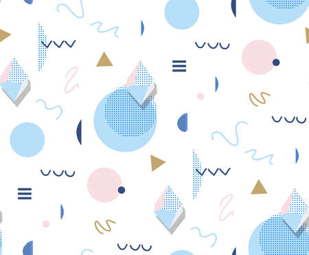 Retro Memphis  80s or 90s style fashion abstract background seamless pattern. Golden triangles, circles, lines. Good for design textile fabric, wrapping paper and wallpaper on the site.