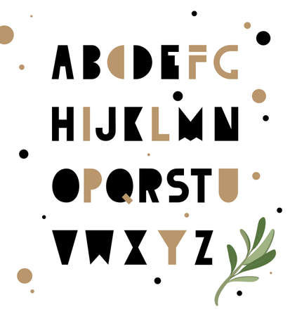 uncluttered: Abstract geometry alphabet. Hipster Style for fashion. Simple uncluttered font made by hand. Illustration