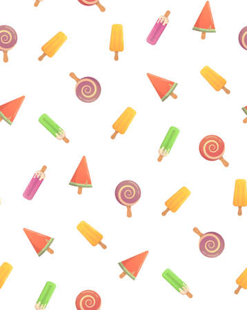 candy store: Funny summer pattern with ice cream. Several types of cream candy, fruit, vanilla, watermelon. Bright pattern of the candy store.
