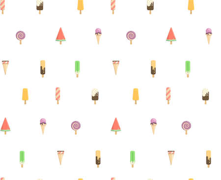Funny summer pattern with ice cream. Several types of cream candy, fruit, vanilla, watermelon. Bright pattern of the candy store.