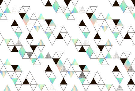 holography: Vector pattern with geometric elements. Triangles with holographic texture. Hipster pattern for fabrics or covers.