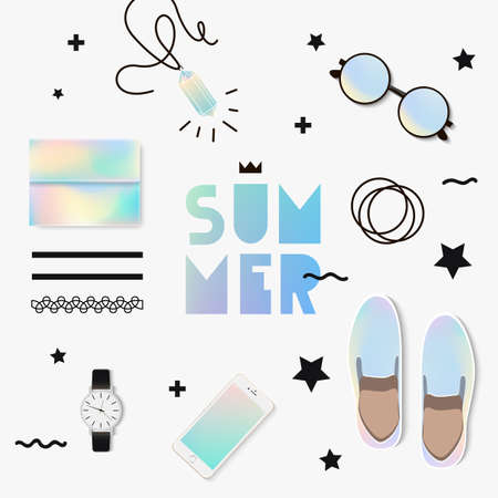 fashion show: The trend set to look. Holographic summer with accessories. Set for a fashion show.