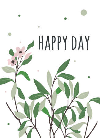 sumptuous: Card happy day with sumptuous wind green leaves. Bright summer illustration for flyers, posters, postcards. Illustration