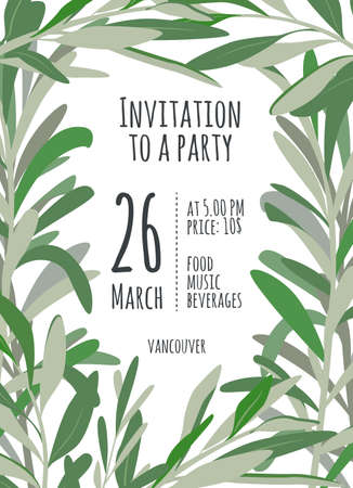 holiday invitation: Invitation for holiday with green leaves. A bright illustration for eco hipster party
