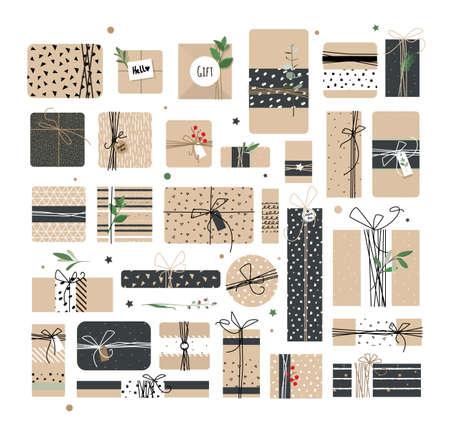 big boxes: Big set of different boxes of Kraft. Illustration
