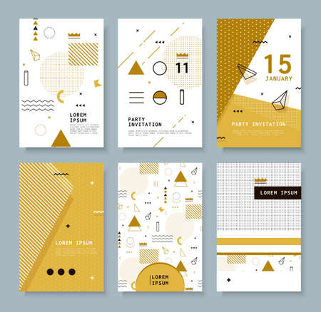 Set invitation with geometric shapes. Covers for books, postcards, notebooks, oboknoty magazines. Hipster posters.