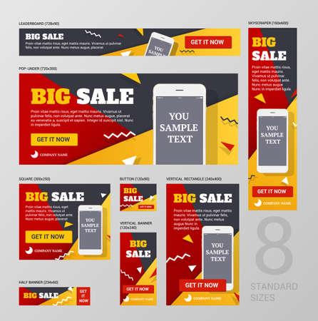 bannières web standard Définir la taille. Le concept de design pour la vente de bannières de magasins. Bannières pour la taille standard de la publicité.