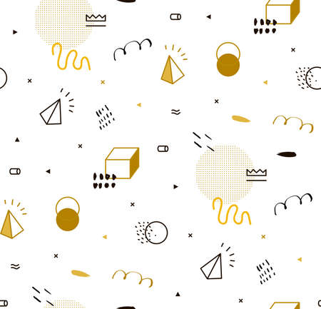 pattern geometric: Seamless geometric pattern gold for fashion and wallpaper. Memphis style for fashion. The pattern can be used for invitations, fabric, cover, wallpaper. Illustration