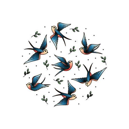 Viejo tatuaje de la escuela se traga en el círculo. Aves en círculo con plantas de los elementos. Ejemplo elegante de la cubierta.