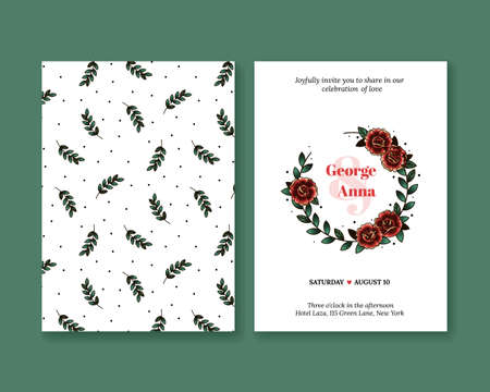 old postcard: Vector invitation with roses in the style of old school tattoos. Wedding invitation collection. Greeting card with roses and plants all around. Elegant invitation.