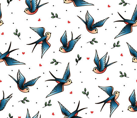 Old school tattoo vector seamless pattern with swallows, twig, heart. Valentines Day or wedding designs. Cover for notebook or phone.