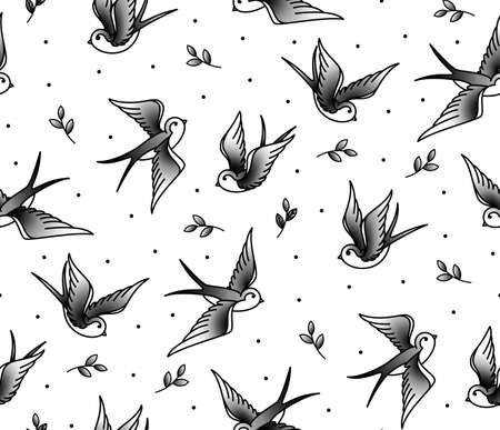 leaf line: Pattern Seamless with swallows and the plant in an old school tattoo. Monochrome pattern of birds. Background for cloth, covers and postcards.