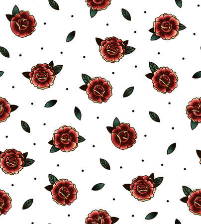 rose: Old school tattoo vector seamless pattern with rose, twig. Valentines Day or wedding designs. Red roses for Fabric, bag, books.