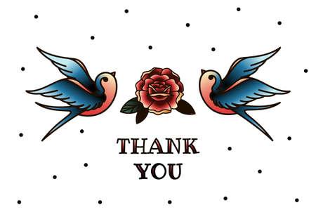 Tarjeta de felicitación del vector con el florecimiento de flores y pájaros. Gracias con lugar para el texto. Rosas, flores silvestres, ilustración vectorial en el estilo de tatuajes de la vieja escuela
