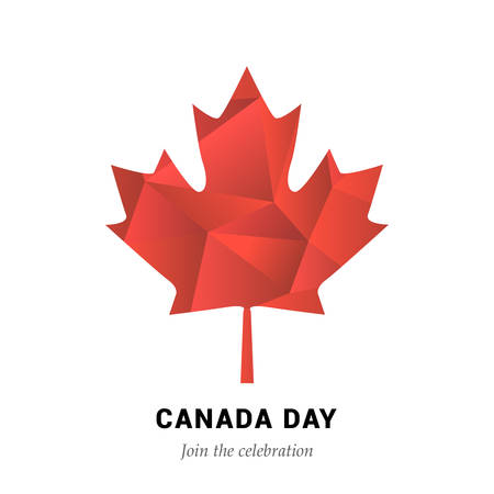 silver maple: Happy Canada Day vector Illustration. 1st July celebration poster with polygon maple leaf.