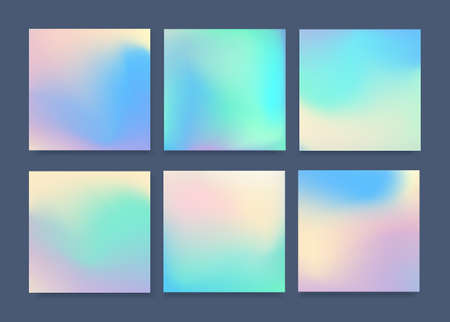 Set of 6 realistic holographic backgrounds in different colors for design. Фото со стока - 59400505