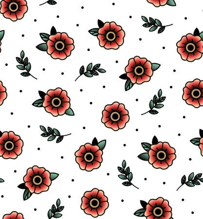 tattooing: Old school tattoo vector seamless pattern with flower, twig . Valentines Day or wedding designs. Print Fabric, bag, books.