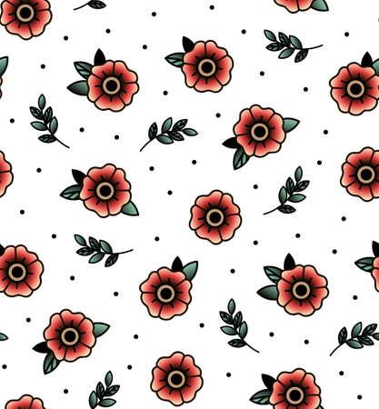 Vieux tatouage vecteur école seamless fleur, brindille. Jour de mariage ou les dessins de la Saint-Valentin. Imprimer Tissu, sac, livres.