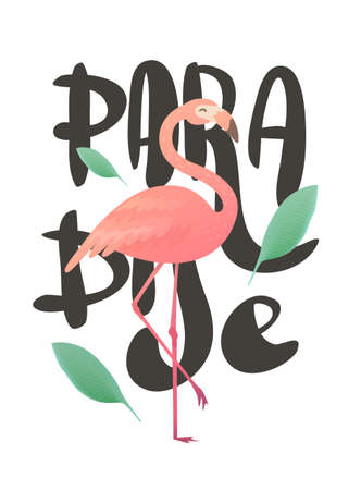 Vector illustration of a pink flamingo. Flamingo African tropical beauty of exotic animals. Sleek design simple. Title paradise