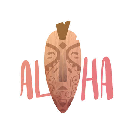 polynesian ethnicity: ALOHA lettering. Mask statue carved polynesian wood vector illustration.