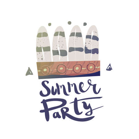 bonnet illustration: Magic illustration with War Bonnet and lettering. Summer party in ethnic style. Shaman party. Illustration for T-shirts, invitations