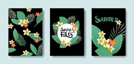 tropics: Vector set of postcards with the tropics. Bright illustration with plants and leaves. Flyers beauty salon. Illustration