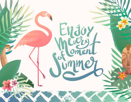 Bright summer illustration with lettering. Print with tropical plants and a flamingo. Text enjoy every moment of summer Illusztráció