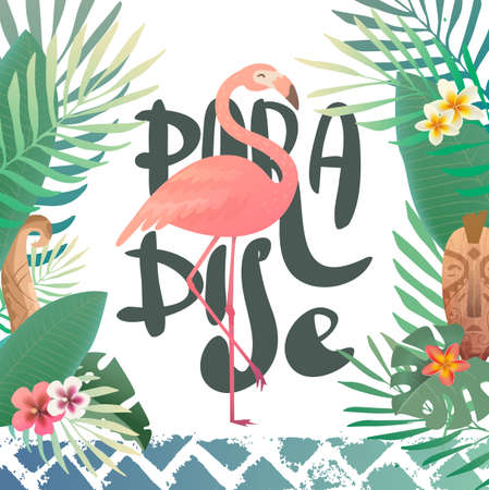 Bright summer illustration with lettering paradise. Print with tropical plants and a flamingo. Frangipani, Plumeria. Hawaii, Bali, Indonesia. Illustration