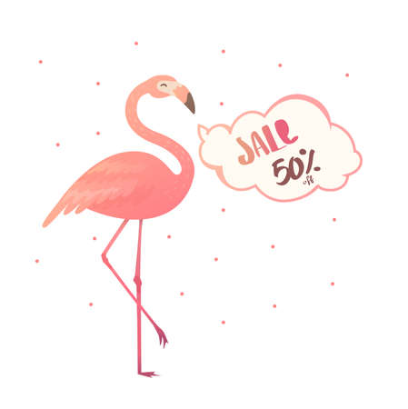 Bright flyer with flamingos. Sale banner template and special offer. 50 off. Vector illustration. The flyer can be used for a beauty salon, a clothing store, cosmetics.