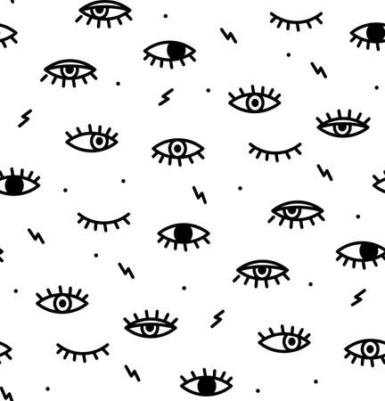 Seamless pattern in the style of psychedelic eyes. Closed and open eye. The pattern for the fabric cover, the book.