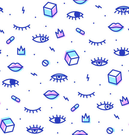 multiply: Seamless pattern in the style of psychedelic eyes with his lips. Style offset and multiply. The template for the cover fabric, books. Modern design for a party.
