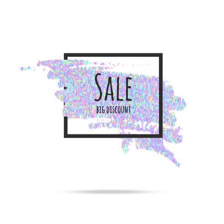 holography: Sale glitter background frame. Text brilliant background for  poster, buy, for sale sign, discounts, marketing, sales,web header. Abstract gologramnye glitter Illustration