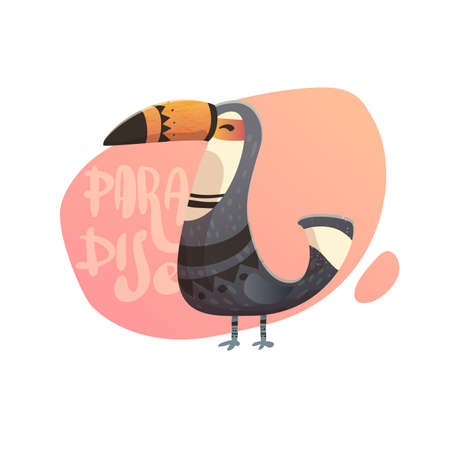 birds of paradise: illustration of toucan. Text paradise with wild birds. Toucan with tribal pattern. Print on a T-shirt, cover of the phone.