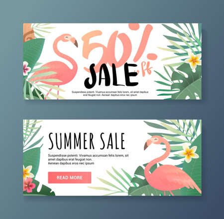 Bright  flamingos. Sale banner template and special offer. 50 off. illustration. can be used for a beauty salon, a clothing store, cosmetics. Web for the shop.