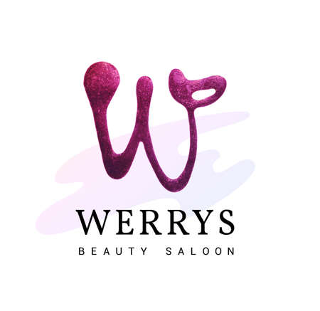 Luxury W logo with glitter. Handmade, Tracy. Logo for the beauty salon, hairdressing salon, spa, boutique. A striking sign of W. Logo
