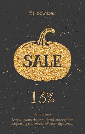 Tekst na sprzedaży złota. Sprzedaż ulotki Halloween, plakaty na sprzedaż znak, zniżek, marketingu, sprzedaży, transparent, nagłówku internetowej. Streszczenie złoty cytowań tekstowych. Ilustracje wektorowe