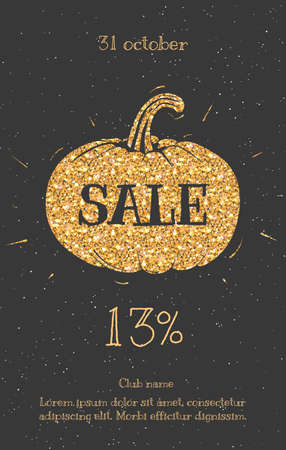 Text on the sale of gold. Sale Halloween leaflets, posters for sale sign, discounts, marketing, sales, banner, web header. Abstract gold for text citations.
