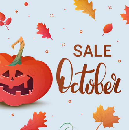 Banner of autumn sale and other typography flyer template with lettering. Bright fall leaves. Halloween sale offer design template. Illustration
