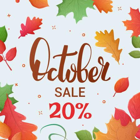 Verkauf Web-Banner. Verkauf Blätter Hintergrund. Autumn Sale und Sonderangebot. 20 Prozent Rabatt im Oktober. Vektor-Illustration.