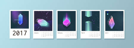 scheduler: Calendar style with space 80 crystals. Calendar Week starts on Monday. Scheduler with neon diamonds. Part 1 January, February, March, April