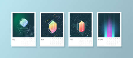scheduler: Calendar style with space 80 crystals. Calendar Week starts on Monday. Scheduler with neon diamonds. Part 2 May, June, July, August